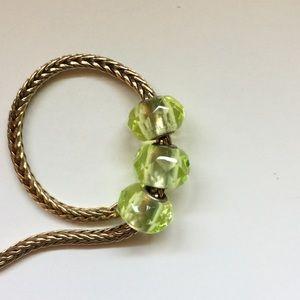 Trollbeads Lime Prism Bead Set of 3